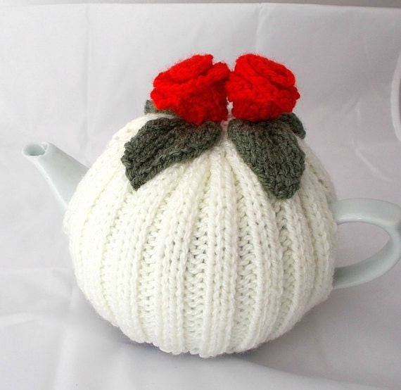 Hand Knitted Tea Cosy Patterns : Hand knitted Tea Cosies Red flower Cozy by AlsCraftyCorner on Etsy