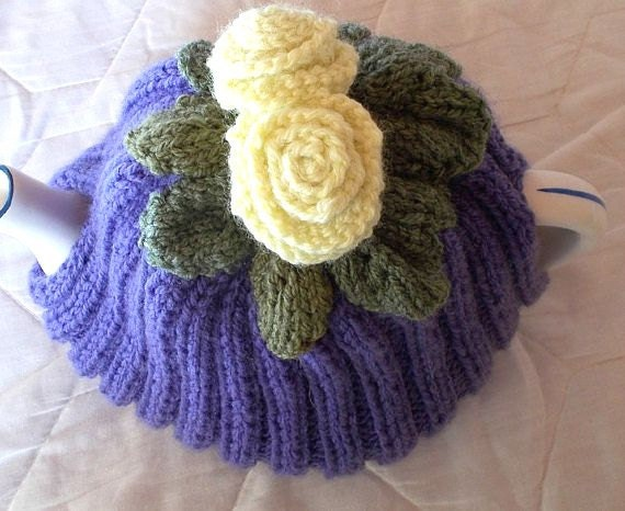 Hand Knitted Tea Cosy Patterns : Purple Tea Cosie lemon Flower cosy Hand knit by AlsCraftyCorner