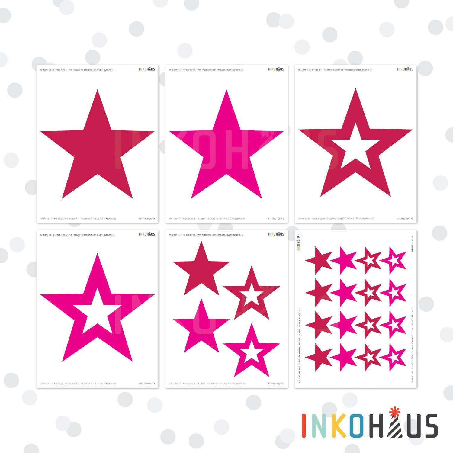Printable Star Silhouette Cutouts American Girl By Inkohaus