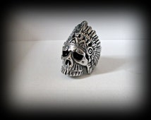 Large indian skull ring-stainless skull ring-heavy biker ring-unisex ring