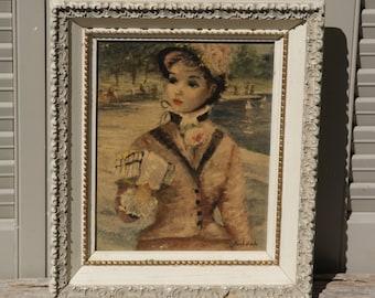"""Vintage Framed Huldah Print, """"In Central Park"""""""