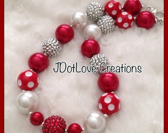 Christmas Bubblegum Necklace - Chunky Necklace - red and white
