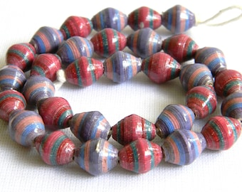 Paper Beads - Paper Bead Jewelry Supplies - Hand painted - Lot of 32 - #B316