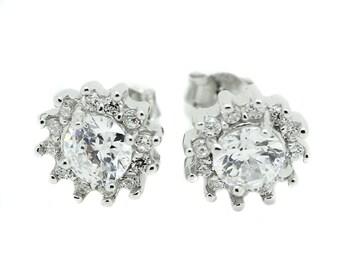 Womens White Cluster Flower CZ Earrings Stainless Steel Stud Round Cut Ladies