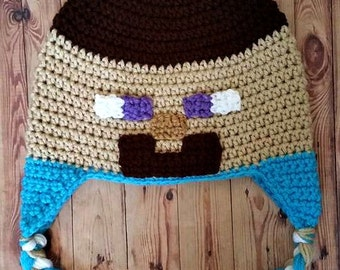 Crochet Steve Hat--Minecraft
