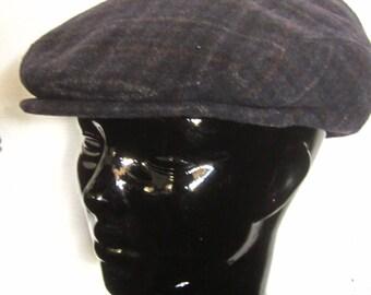 IRISH WOOL CAP Vintage Men's Wool Tattersall Plaid Newsboy Hat-Muckross House Killarney Ireland Winter Cap Dark Grey Plaid