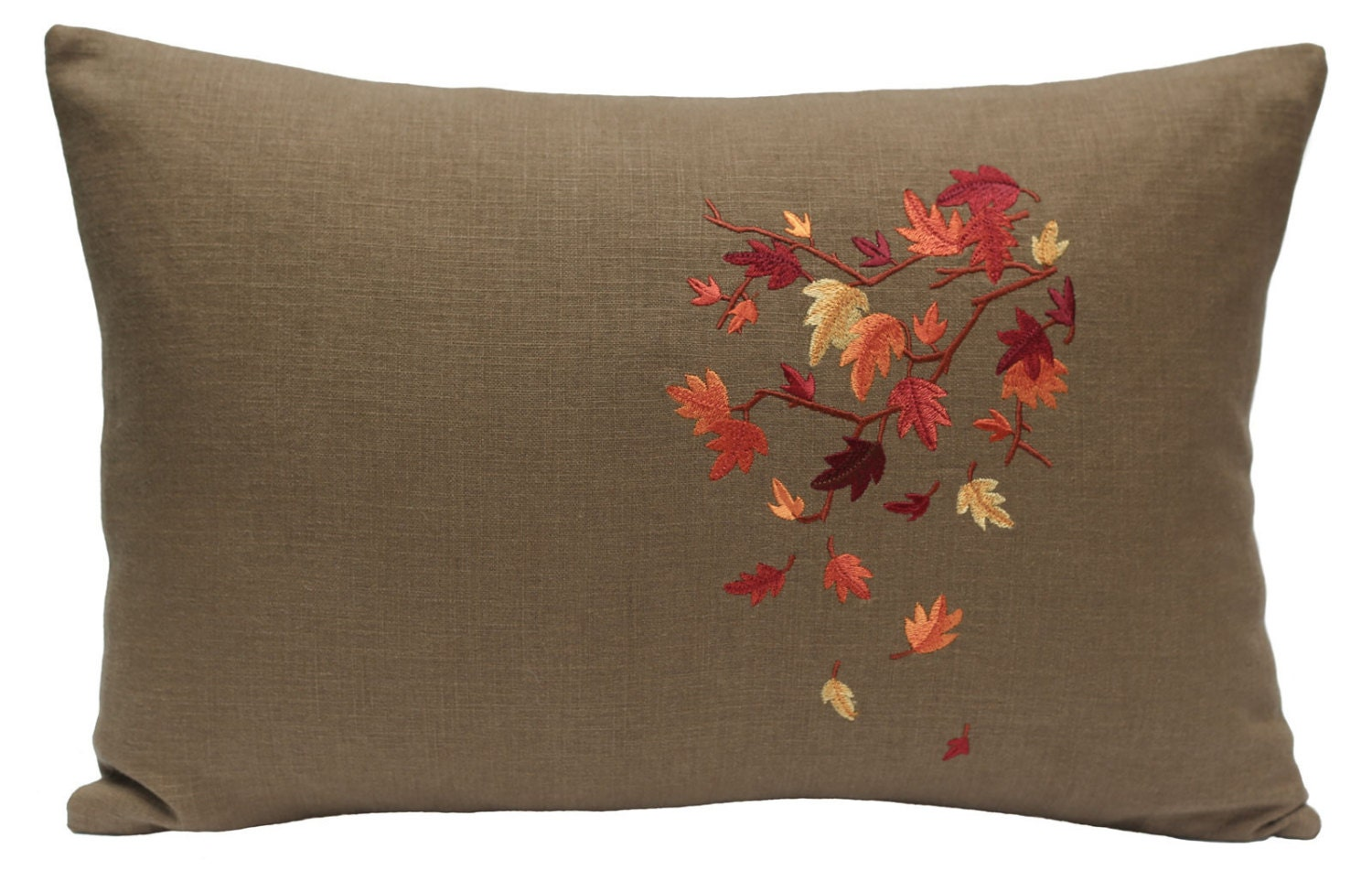 Embroidered foliage pillow leaf tree branch autumn