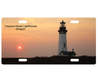Custom, personalized standard size license plate-Yaquina Lighthouse, OR-add your text-Free Shipping