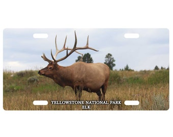 Custom, personalized standard size license plate-Elk, Yellowstone Nat'l Park-add your text-Free Shipping
