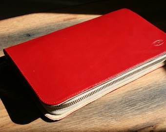 Red leather zipped clutch-wallet