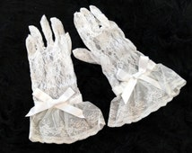 Custom size available! Handsewn White Lace gloves with satin ribbon, for weddings, lolita, gothic, burlesque or steampunk style.