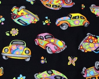 Patchwork Quilting Fabric Nutex Herbie Beetle Car on Black