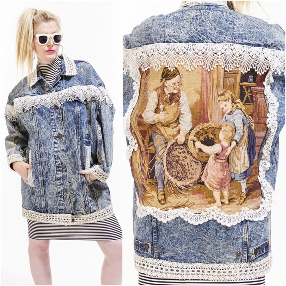 Vtg 80s JORDACHE Acid Washed Jean Jacket Denim Lace Kitschy Grunge Faded Boho Oversized Trophy Dolman patchwork BASKET WEAVER Needlepoint os