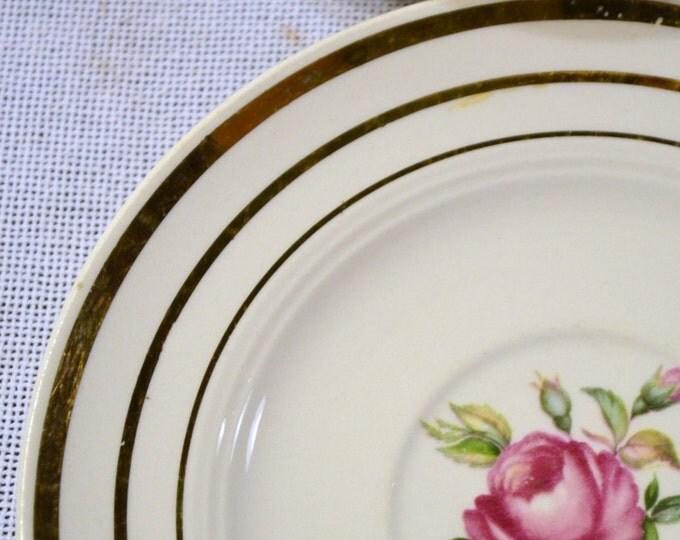 Vintage Mount Vernon by Salem China Co Saucer Plate Set of 7 Pink Rose Design Chippy PanchosPorch