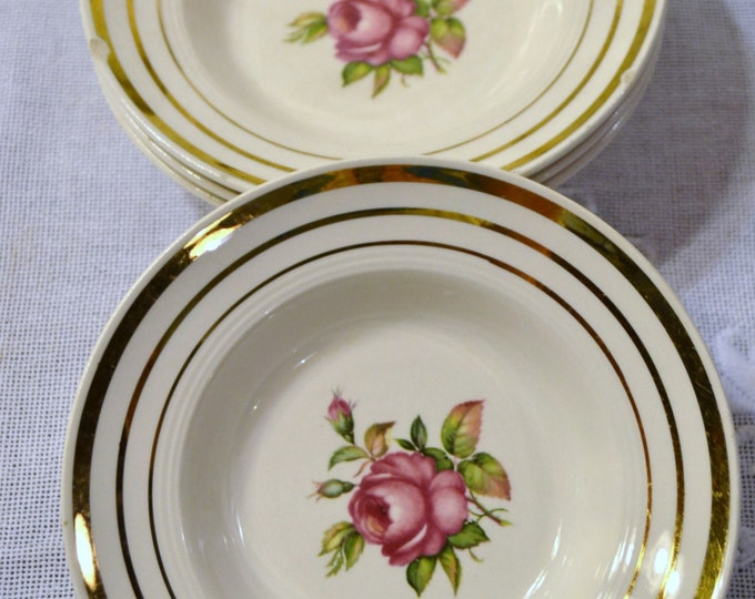 Vintage Mount Vernon by Salem China Co Berry Fruit Dessrt Bowl Set of 4 Pink Rose Design Chippy PanchosPorch