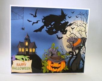 Handmade Halloween  Greeting Card,3D,witch,broomstick,cat,pumpkin