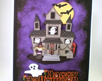Handmade Halloween Greeting Card,ghosts and witch with cauldron, bats ,haunted house