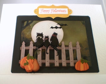 Handmade Halloween Greeting Card,Black Cats,pumpkins
