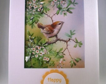 Handmade Birthday decoupage Bird Card ,wren,personalise,3D