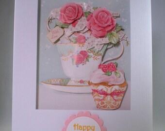 Handmade flower and cupcake birthday card,3D,Decoupage, Personalise