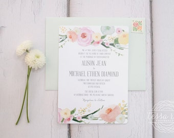 Watercolor Floral Wedding Invitation | Whimsical Wedding Spring Invitation | DEPOSIT to BEGIN
