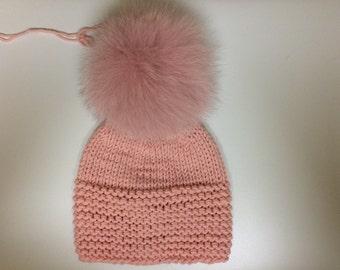 Dusty Pink Soft Wool Baby Hat - Pink Fox Fur Pom Pom - Hand Knit - READY TO SHIP