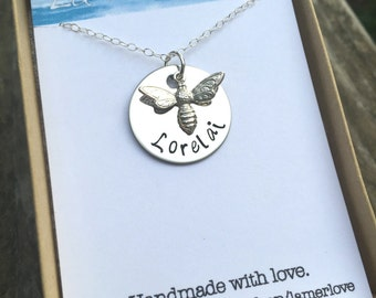 Sterling Silver Honey Bee Necklace, Custom Name Necklace