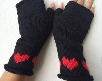 Black Heart Gloves knitting gloves, Black Fingerless Gloves, Black Heart Mittens winter accessories, Black gloves heart