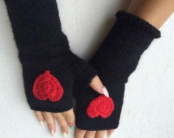 Black Heart Gloves knitting gloves, Black Fingerless Gloves, Black  Mittens red crochet hearts winter accessories, Black gloves heart