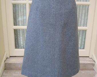 Vintage Grey Herring Bone Tweed Skirt Size 14 Hebden Cord Winter