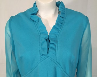 Vintage 70s Baby Blue Chiffon Sleeve Long Polyester Crepe Dress XL 1X Plus Size Mad Men Seventies Fortrel Polyester Formal