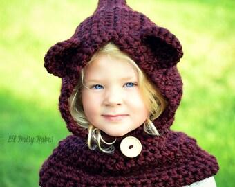 Hooded Bear Cowl - Choose your own color - Baby Bear Neck Warmer - Bear Hood Hat - Kids Cowl - Kids Winter Bear Hat - Bear Neck Warmer