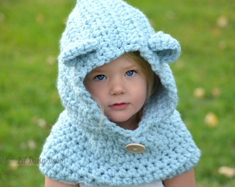 Hooded Bear Cowl - Choose your own color - Baby Bear Neck Warmer - Bear Hood Hat - Kids Cowl - Toddler Neck Warmer - Bear Neck Warmer