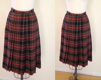 Vintage 1970s Plaid Pleated Wool Midi Audrey Horne Skirt, Size Small