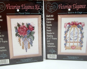 Set of 2 Victorian Elegance Counted Cross Stitch Kits