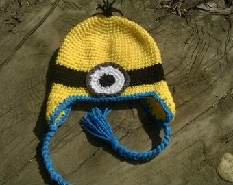 minion children's crochet character beanie size 3-10 years