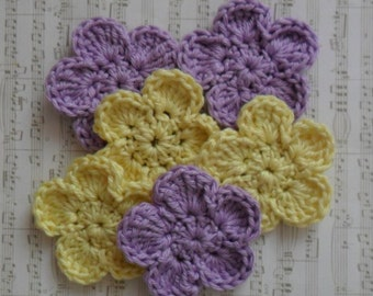 U pick colors - Set of 6 Large Crochet Flowers - 2' or 5 cm - 89 Colors Available