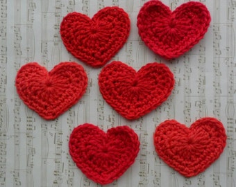U Pick Colors - Set of 6 Large Crochet Hearts - 2.3' or 5,8 cm - 89 Colors Available