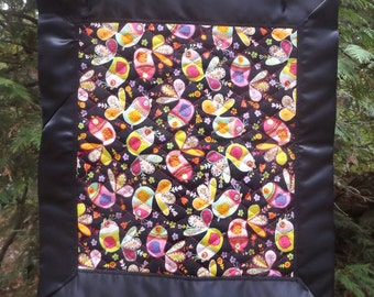 Modern Bright Owls on Black With Satin Binding Quilted Lovey - Pre-Quilted Whole Cloth in Pinks, Yellows, Purples