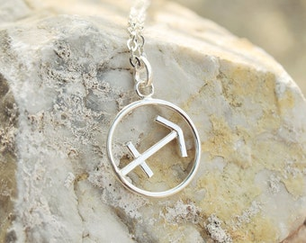 Silver Sagittarius necklace, Horoscope jewelry  zodiac sign pendant necklace astrology sign sterling silver 925 birthday gift