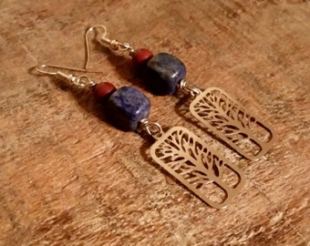 Denim Blue Tree Earrings with Lapis Lazuli and Brown Magnesite, Casual Fall Dangles