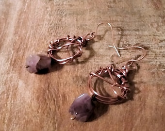Rustic Copper Wrapped Dangle Earrings with Amethyst Drops, February Birthstone Jewelry