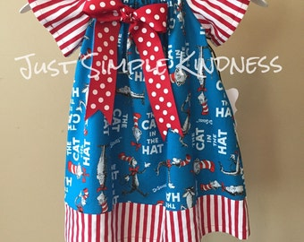 Cat in the Hat Dress Girls Cat and the Hat Dress Dr Suess Birthday Cat in the Hat Birthday Dr Suess Birthday Dress
