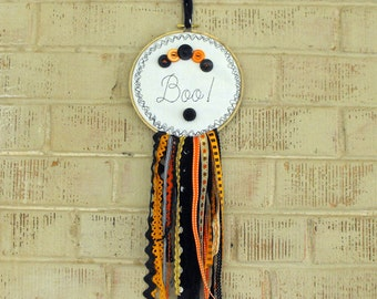 Halloween Embroidery Hoop Banner with Vintage Ribbon and Buttons, Large