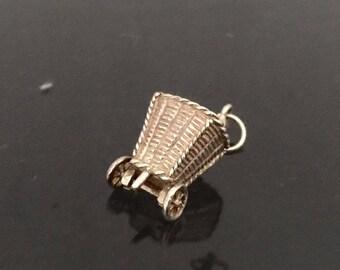 Vintage Sterling Silver 3D Basket Charm Pendant