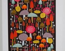 Toadstool mushroom giclee print woodland illustration A3