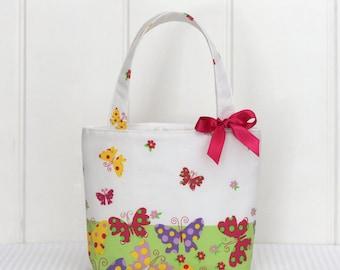 Mini Tote Bag / Girls Bag / Kids Bag / Girls Purse - Spring Butterflies