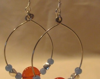 Orange & Blue Hoop Earrings, Matching Bracelet