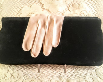 Vintage Black Velvet Evening Bag. 1950's Mid Century Virginia Art Hinged Clutch Handbag Purse. Ladies  Fashion. Formal Accessories.