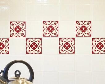 Red backsplash tile etsy - Stickers cuisine rouge ...